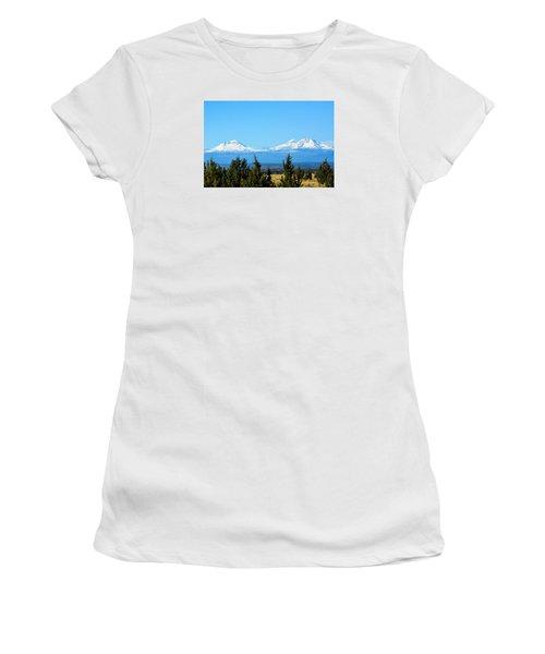 Three Sisters In The Fall Women's T-Shirt (Junior Cut) by Linda Larson
