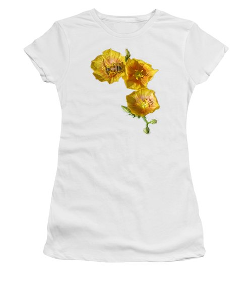 Three Yellow Flowers With A Bee Women's T-Shirt (Junior Cut) by Linda Phelps