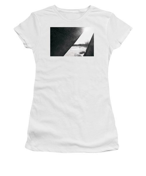 Women's T-Shirt (Athletic Fit) featuring the photograph Through A Bird Blind by Sue Collura