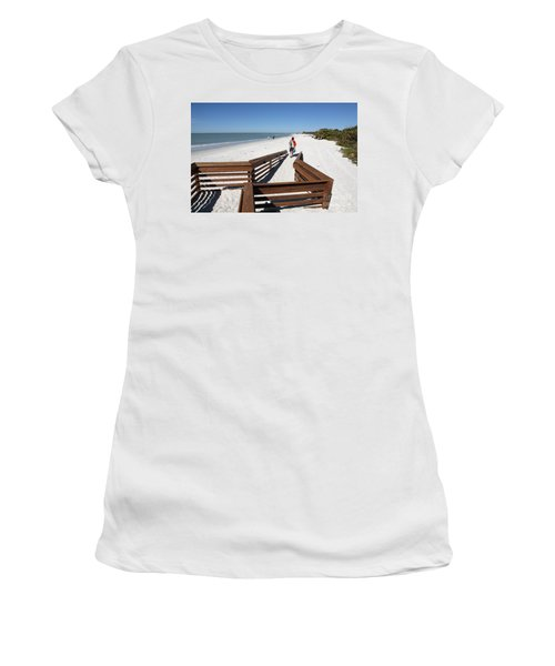 Tide Of Sand Over A Ramp On The Beach In Naples Florida Women's T-Shirt