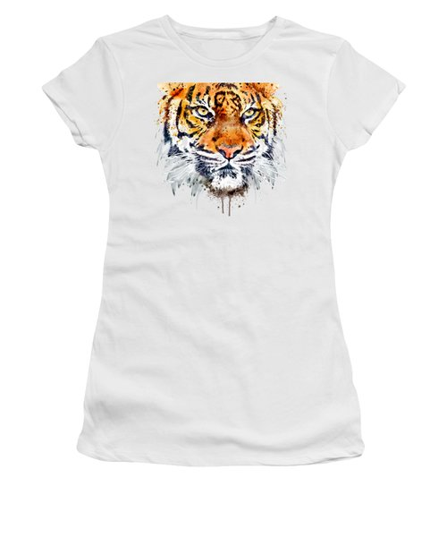 Women's T-Shirt (Junior Cut) featuring the mixed media Tiger Face Close-up by Marian Voicu