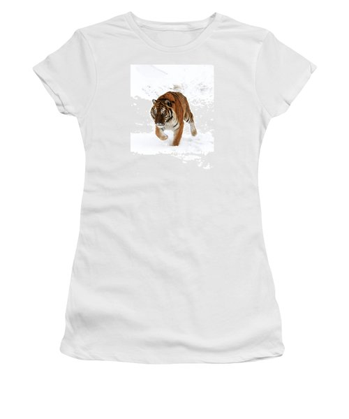 Tiger In Snow Women's T-Shirt