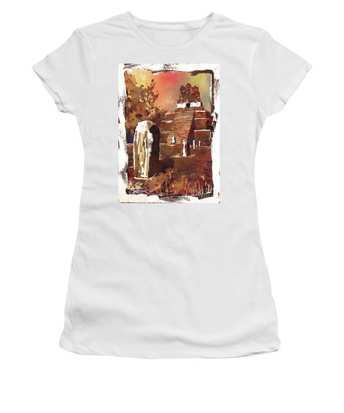 Women's T-Shirt (Junior Cut) featuring the painting Tikal Mayan Ruins- Guatemala by Ryan Fox