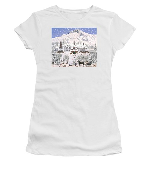 Women's T-Shirt (Junior Cut) featuring the painting Timberline Lodge by Jennifer Lake