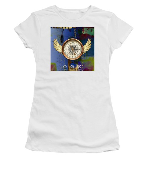 Women's T-Shirt (Athletic Fit) featuring the mixed media Time Flies by Marvin Blaine