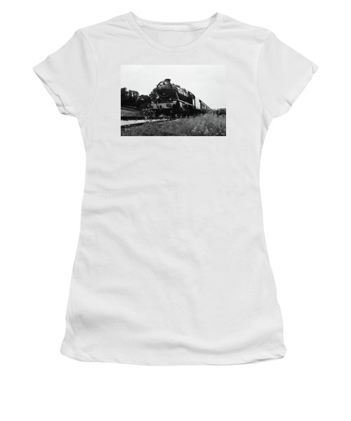 Women's T-Shirt (Junior Cut) featuring the photograph Time Travel By Steam B/w by Martin Howard