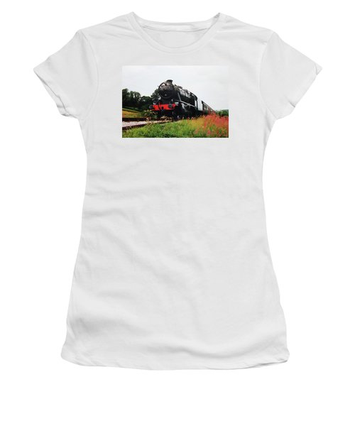 Women's T-Shirt (Junior Cut) featuring the photograph Time Travel By Steam by Martin Howard