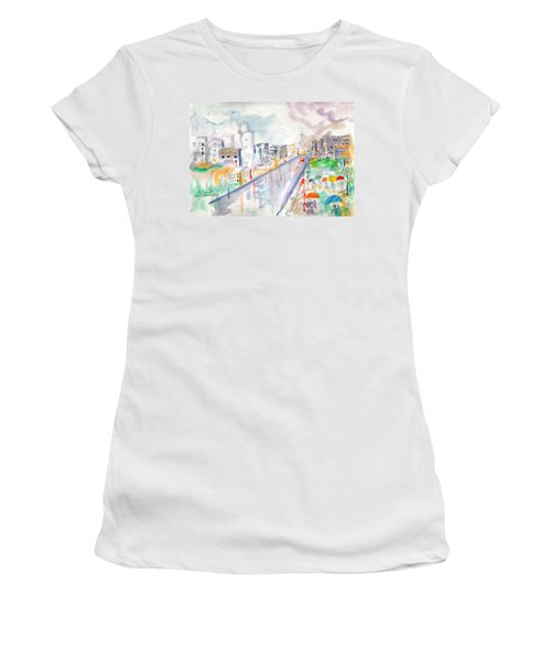 Women's T-Shirt (Junior Cut) featuring the painting To The Wet City by Mary Armstrong