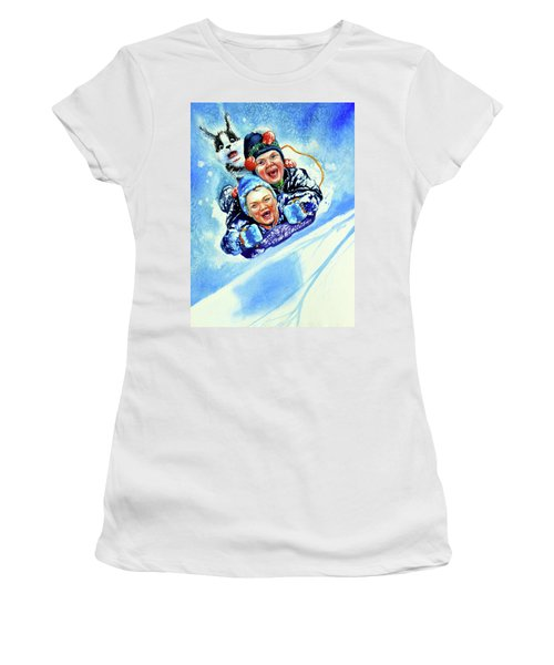 Women's T-Shirt (Athletic Fit) featuring the painting Toboggan Terrors by Hanne Lore Koehler