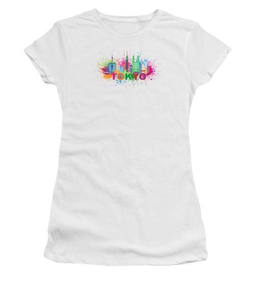 Tokyo City Skyline Paint Splatter Illustration Women's T-Shirt (Junior Cut) by Jit Lim