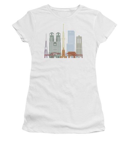 Tokyo V2 Skyline Poster Women's T-Shirt (Junior Cut) by Pablo Romero