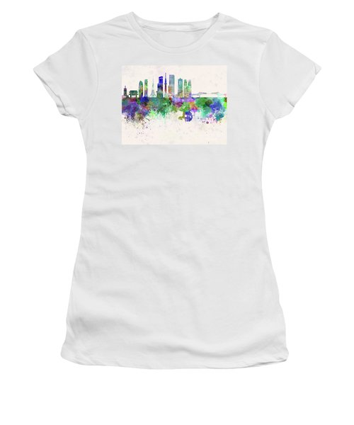 Tokyo V3 Skyline In Watercolor Background Women's T-Shirt (Athletic Fit)