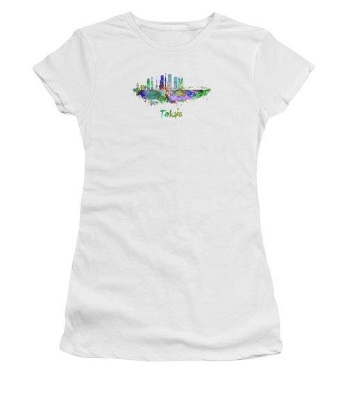 Tokyo V3 Skyline In Watercolor Women's T-Shirt