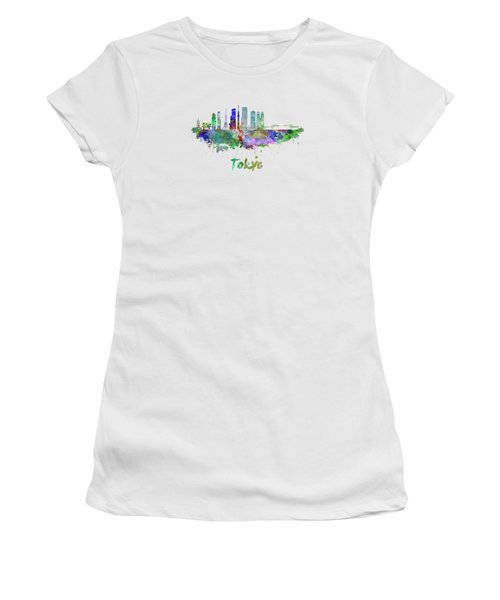 Tokyo V3 Skyline In Watercolor Women's T-Shirt (Athletic Fit)
