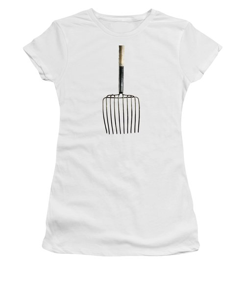 Women's T-Shirt (Junior Cut) featuring the photograph Tools On Wood 25 On Bw by YoPedro