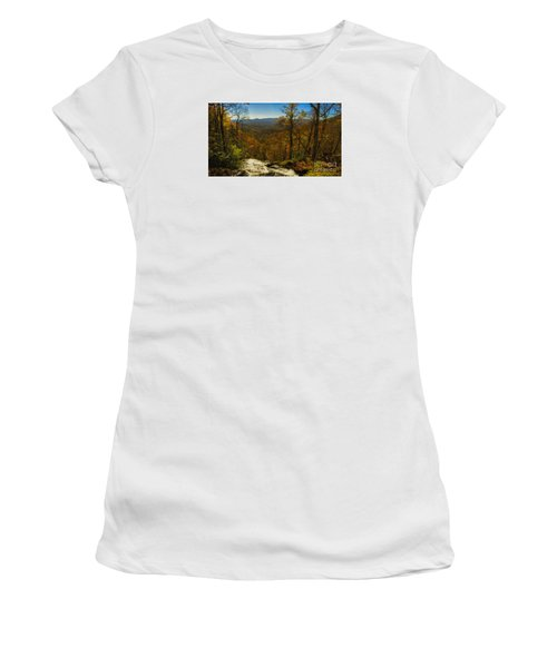 Women's T-Shirt (Junior Cut) featuring the photograph Top Of Amicola Falls by Barbara Bowen