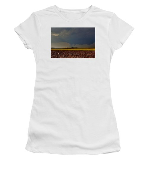 Women's T-Shirt (Athletic Fit) featuring the photograph Tornadoes Across The Fields by Ed Sweeney