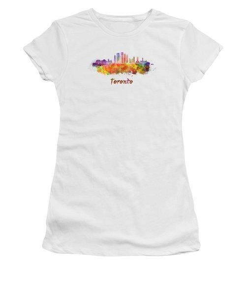 Toronto V2 Skyline In Watercolor Women's T-Shirt