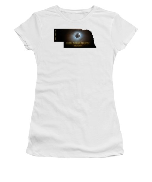 Total Solar Eclipse In Nebraska Map Outline Women's T-Shirt (Athletic Fit)