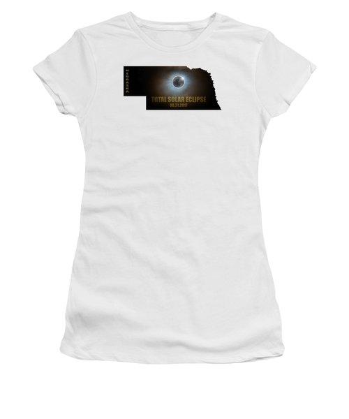 Total Solar Eclipse In Nebraska Map Outline Women's T-Shirt (Athletic Fit)