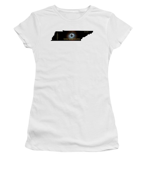 Total Solar Eclipse In Tennessee Map Outline Women's T-Shirt (Athletic Fit)