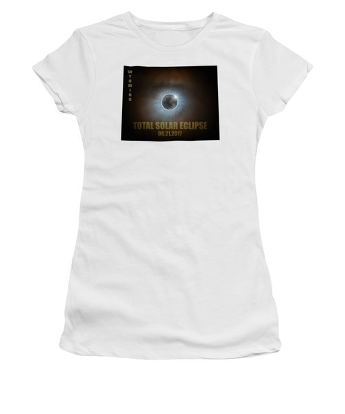Total Solar Eclipse In Wyoming Map Outline Women's T-Shirt (Athletic Fit)