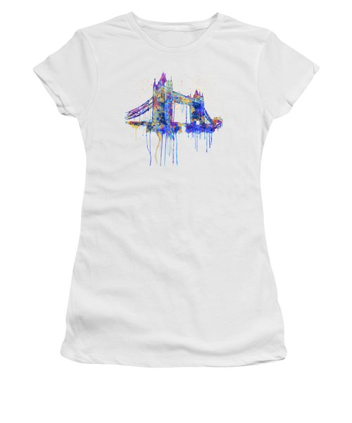 Tower Bridge Watercolor Women's T-Shirt (Junior Cut) by Marian Voicu