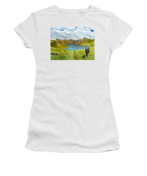 Women's T-Shirt featuring the painting Tracking Niseag by Kevin Daly