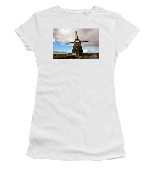 Traditional Dutch Windmill Near Volendam  Women's T-Shirt