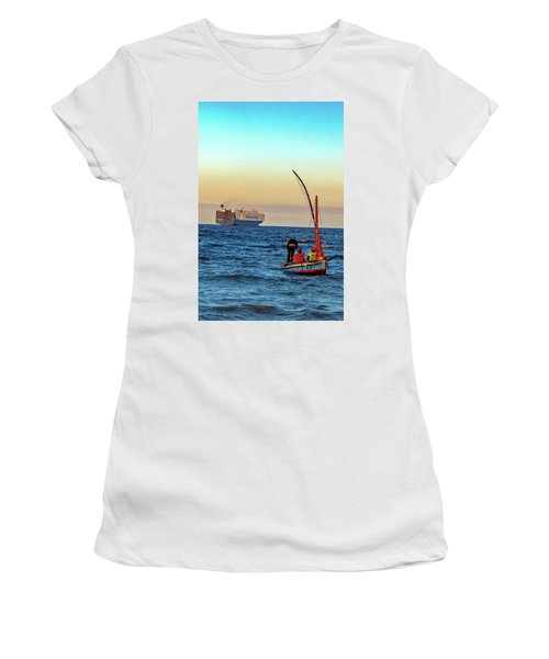 Traditional Fishing And The Container Ship Women's T-Shirt