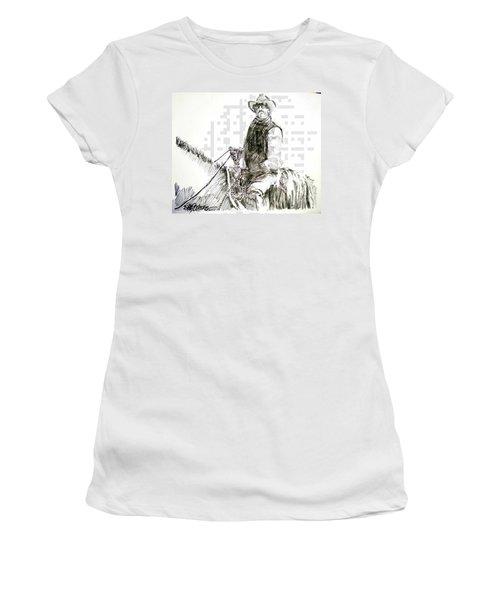 Women's T-Shirt (Junior Cut) featuring the drawing Trail Boss by Seth Weaver
