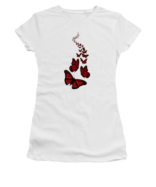 Trail Of The Red Butterflies Transparent Background  Women's T-Shirt (Junior Cut) by Barbara St Jean