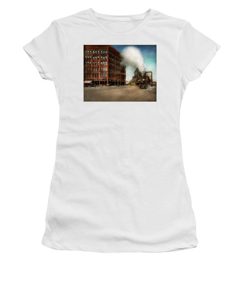 Women's T-Shirt (Junior Cut) featuring the photograph Train - Respect The Train 1905 by Mike Savad
