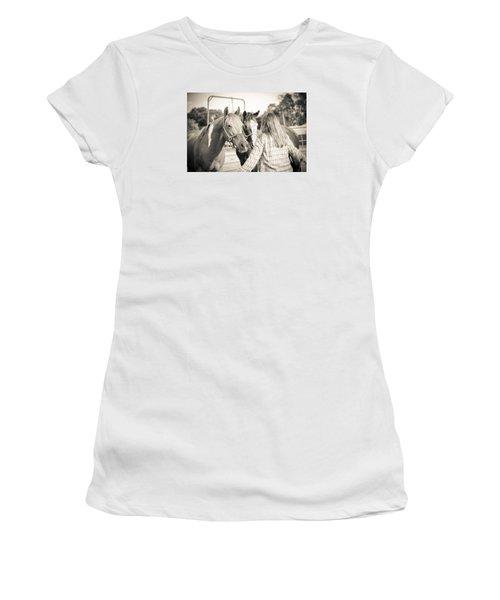 Training The Horses In Sepia Women's T-Shirt (Junior Cut) by Kelly Hazel
