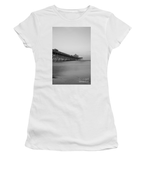 Tranquility At Folly Grayscale Women's T-Shirt (Athletic Fit)
