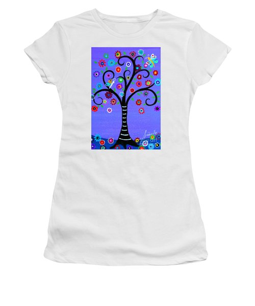 Women's T-Shirt (Athletic Fit) featuring the painting Transformation Tree Of Life by Pristine Cartera Turkus