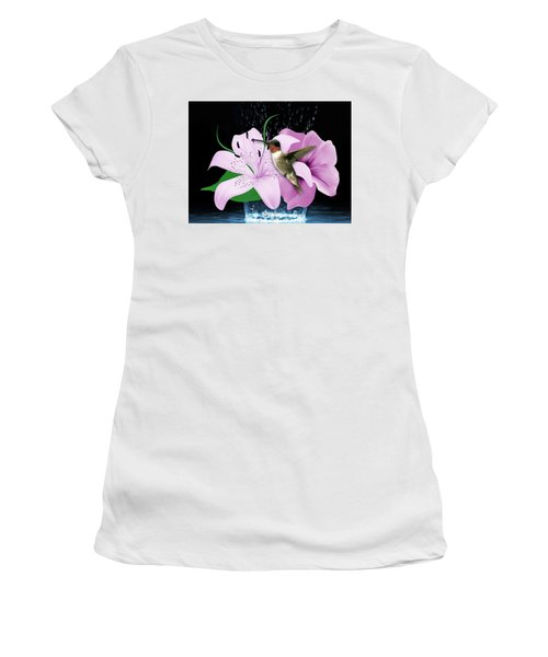 Women's T-Shirt (Athletic Fit) featuring the mixed media Transport Hummingbird by Marvin Blaine