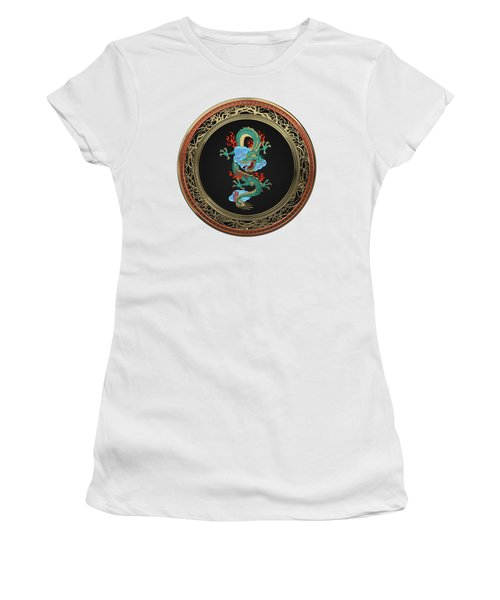 Treasure Trove - Turquoise Dragon Over White Leather Women's T-Shirt (Junior Cut) by Serge Averbukh