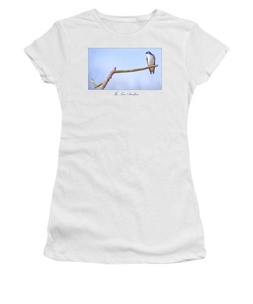 Tree Swallow On Branch Women's T-Shirt (Junior Cut) by A Gurmankin
