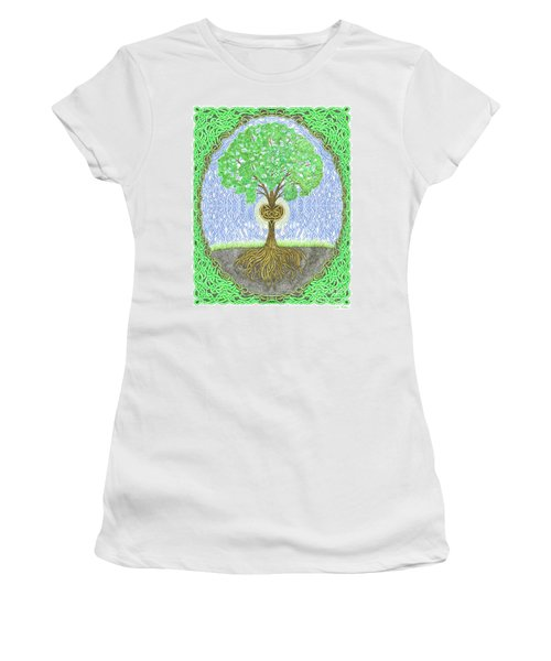 Tree With Heart And Sun Women's T-Shirt (Junior Cut) by Lise Winne