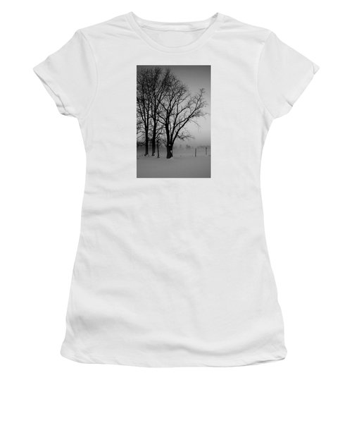Women's T-Shirt (Junior Cut) featuring the photograph Trees In The Fog by Karen Harrison