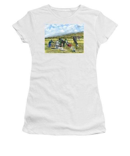 Women's T-Shirt (Junior Cut) featuring the painting Treshing Rice by Melly Terpening