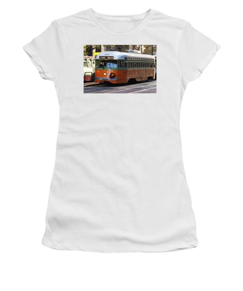 Women's T-Shirt (Junior Cut) featuring the photograph Trolley Number 1080 by Steven Spak