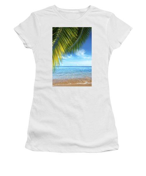Tropical Beach Women's T-Shirt (Athletic Fit)