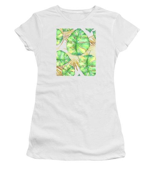 Tropical Haze Blanche Variegated Monstera Leaves, Golden Palm Fronds On Black Women's T-Shirt