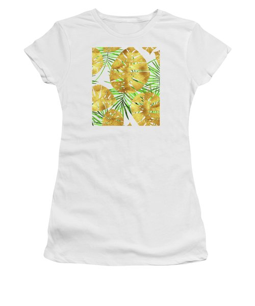 Tropical Haze II Gold Monstera Leaves And Green Palm Fronds Women's T-Shirt