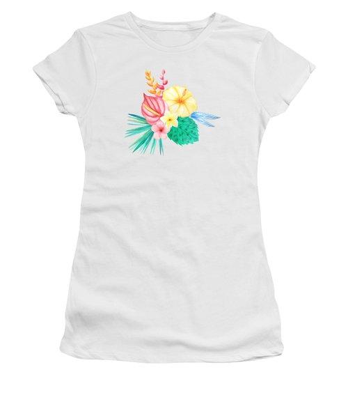 Tropical Watercolor Bouquet 2 Women's T-Shirt (Athletic Fit)