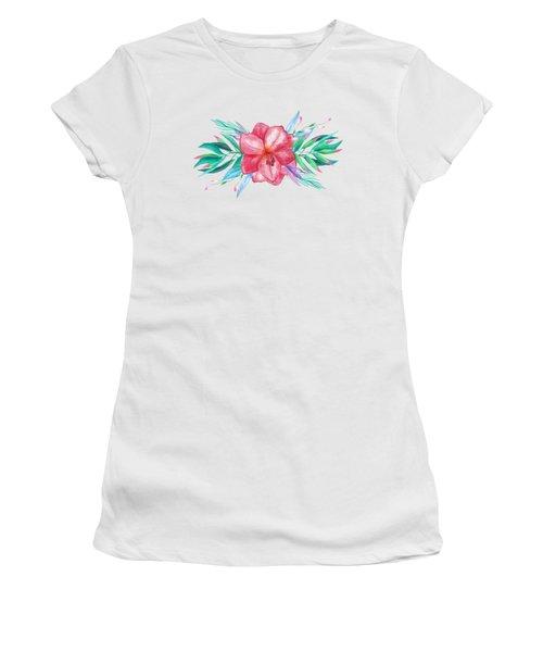 Tropical Watercolor Bouquet 5 Women's T-Shirt (Athletic Fit)