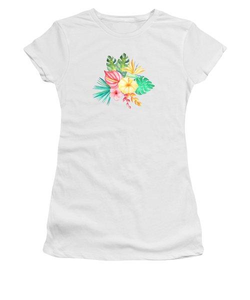 Tropical Watercolor Bouquet 6 Women's T-Shirt (Athletic Fit)