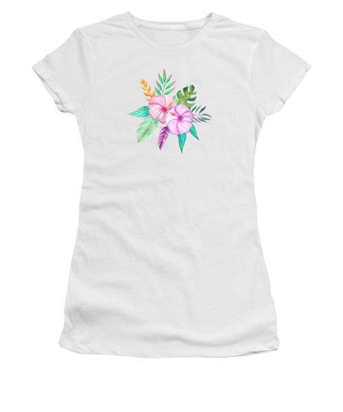 Tropical Watercolor Bouquet 78 Women's T-Shirt (Athletic Fit)